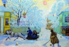 """Картина """"морозный день"""" художника """"борис кустодиев"""""""