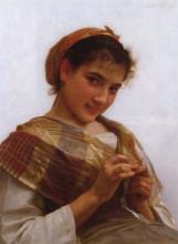 """Картина """"Portrait of a Young Girl Crocheting"""" художника """"Бугро Вильям Адольф"""""""