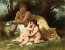 """Копия картины """"Young Woman Contemplating Two Embracing Children"""" художника """"Бугро Вильям Адольф"""""""