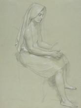 """Картина """"Study of a Seated Veiled Female Figure"""" художника """"Бугро Вильям Адольф"""""""