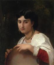 """Картина """"italian woman with tambourine"""" художника """"бугро вильям адольф"""""""