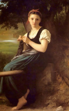 "Картина ""The Knitting Girl"" художника ""Бугро Вильям Адольф"""