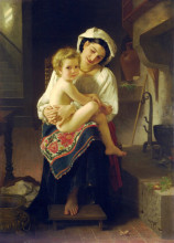 "Копия картины ""Young Mother Gazing At Her Child"" художника ""Бугро Вильям Адольф"""