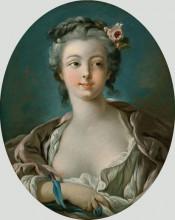 """Репродукция картины """"Девушка с цветами в волосах (иногда неправильно называют Портрет мадам Буше)"""" художника """"Буше Франсуа"""""""
