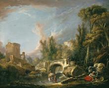 """Картина """"Речной пейзаж с руинами моста"""" художника """"Буше Франсуа"""""""