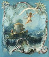 """Репродукция картины """"Зачарованный дом. Пасторальный пейзаж, увенчанный Амуром"""" художника """"Буше Франсуа"""""""