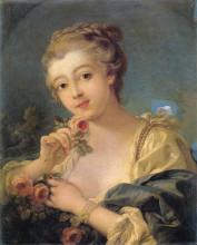 """Копия картины """"Девушка с букетом роз"""" художника """"Буше Франсуа"""""""