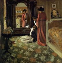 "Картина ""Interior, Bedroom with Two Figures"" художника ""Валлотон Феликс"""
