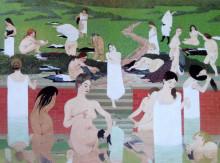"""Репродукция картины """"The Bath, Summer Evening"""" художника """"Валлотон Феликс"""""""