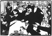 "Репродукция картины ""The brawl at the scene or cafe"" художника ""Валлотон Феликс"""