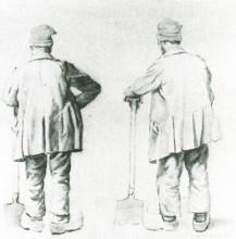 "Репродукция картины ""two sketches of a man leaning on his spade"" художника ""ван гог винсент"""