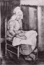 "Копия картины ""woman sewing"" художника ""ван гог винсент"""