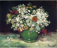 "Репродукция картины ""vase with zinnias and other flowers"" художника ""ван гог винсент"""