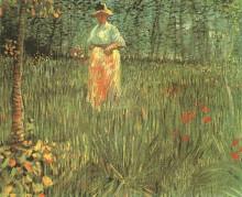 "Картина ""A woman walking in garden"" художника ""Ван Гог Винсент"""