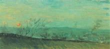 "Картина ""factories seen from a hillside in moonlight"" художника ""ван гог винсент"""