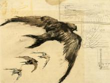 "Репродукция картины ""four swifts with landscape sketches"" художника ""ван гог винсент"""