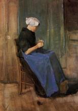 "Репродукция картины ""young woman knitting"" художника ""ван гог винсент"""