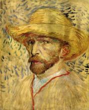 "Картина ""self-portrait with straw hat"" художника ""ван гог винсент"""