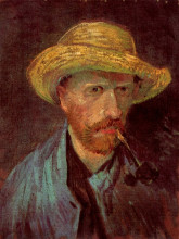 "Картина ""self-portrait with straw hat and pipe"" художника ""ван гог винсент"""