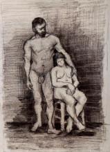 "Репродукция картины ""standing male and seated female nudes"" художника ""ван гог винсент"""