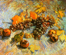 """Картина """"still life with apples, pears, lemons and grapes"""" художника """"ван гог винсент"""""""
