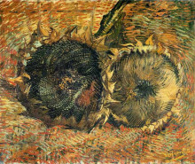 "Копия картины ""still life with two sunflowers"" художника ""ван гог винсент"""