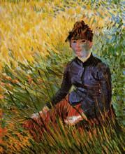 "Репродукция картины ""Woman Sitting in the Grass"" художника ""Ван Гог Винсент"""