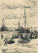 """Картина """"beach and boats"""" художника """"ван гог винсент"""""""