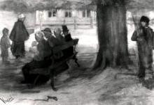 """Копия картины """"Bench with Four Persons and Baby"""" художника """"Ван Гог Винсент"""""""