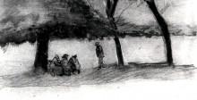 "Картина ""bench with three persons"" художника ""ван гог винсент"""