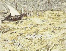 """Репродукция картины """"A Fishing Boat at Sea"""" художника """"Ван Гог Винсент"""""""