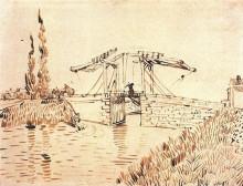 "Репродукция картины ""drawbridge with lady with parasol"" художника ""ван гог винсент"""