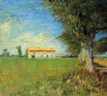 "Копия картины ""farmhouse in a wheat field"" художника ""ван гог винсент"""
