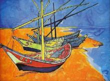 "Копия картины ""fishing boats on the beach at saintes-maries-de-la-mer"" художника ""ван гог винсент"""