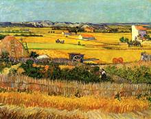 """Картина """"harvest at la crau, with montmajour in the background"""" художника """"ван гог винсент"""""""