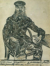 "Репродукция картины ""joseph roulin, sitting in a cane chair, three-quarter-length"" художника ""ван гог винсент"""