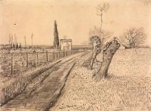 "Копия картины ""landscape with path and pollard trees"" художника ""ван гог винсент"""