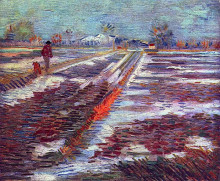 """Картина """"landscape with snow"""" художника """"ван гог винсент"""""""