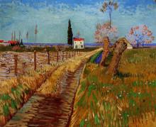 """Картина """"path through a field with willows"""" художника """"ван гог винсент"""""""
