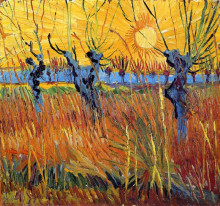 "Репродукция картины ""Pollard Willows and Setting Sun"" художника ""Ван Гог Винсент"""