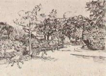"""Репродукция картины """"public garden with benches"""" художника """"ван гог винсент"""""""