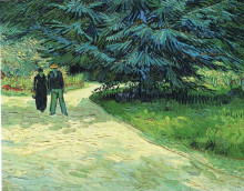 "Картина ""Public Garden with Couple and Blue Fir Tree (The Poet s Garden III)"" художника ""Ван Гог Винсент"""