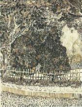 """Копия картины """"public garden with fence"""" художника """"ван гог винсент"""""""