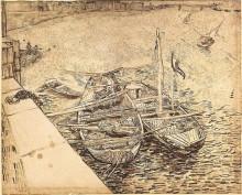 """Копия картины """"quay with men unloading sand barges"""" художника """"ван гог винсент"""""""
