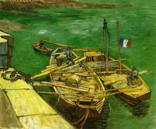 "Картина ""quay with men unloading sand barges"" художника ""ван гог винсент"""