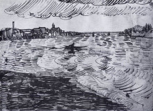 "Картина ""rhone with boats and a bridge"" художника ""ван гог винсент"""
