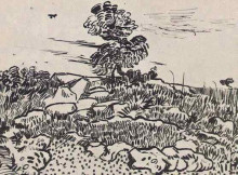 "Картина ""rocks with oak tree"" художника ""ван гог винсент"""