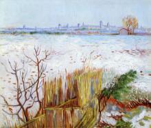 "Копия картины ""snowy landscape with arles in the background"" художника ""ван гог винсент"""
