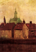 "Репродукция картины ""cluster of old houses with the new church in the hague"" художника ""ван гог винсент"""