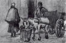 "Картина ""Donkey Cart with Boy and Scheveningen Woman"" художника ""Ван Гог Винсент"""